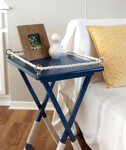 Table makeover paint rope