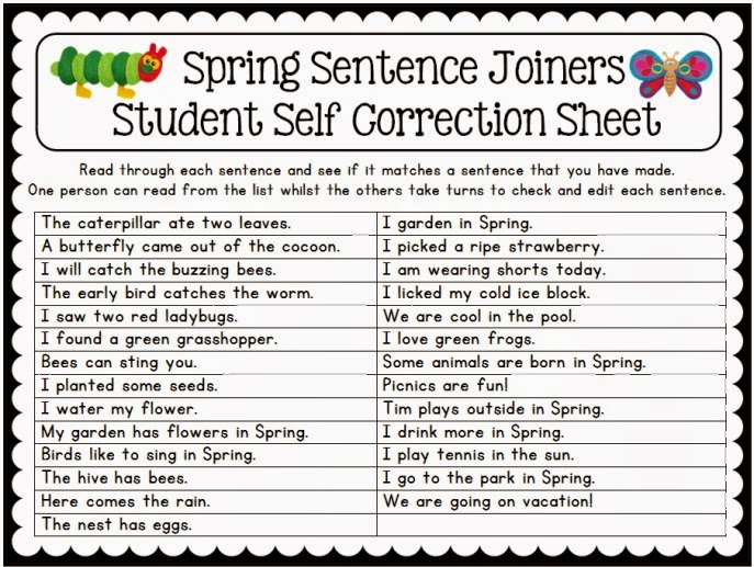 Spring themed resources and ideas sentence joiners center activity