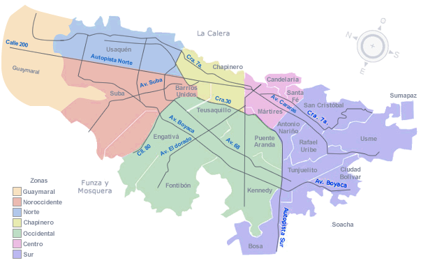 Mapa bogota world map weltkarte peta dunia mapa del for Barrio ciudad jardin norte bogota