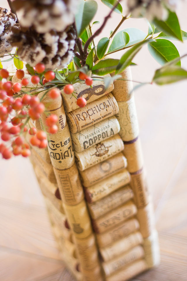 Wine cork vases - the perfect use for all those corks you've been saving! These make great gifts || http://www.designimprovised.com