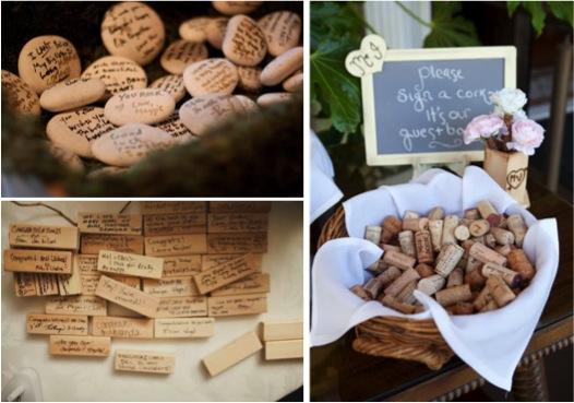 Rincón de deseos con corchos, piedras o maderas