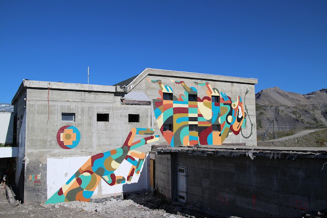 Our good friend Reka was one of the participants of recently finished Vision Art Festival in Switzerland. Australian-born artist got an opportunity to create his work high in the Swiss Alps, and the finished piece looks impressive in the setting it's been placed in.