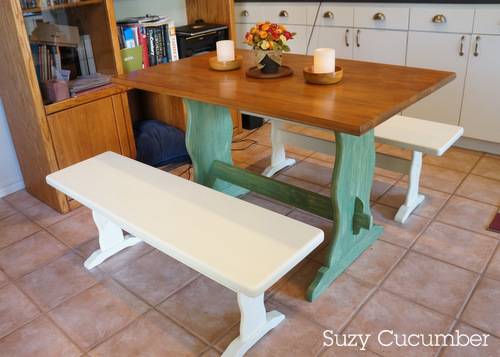 Revamp refinish table benches paint stain wood grain cream