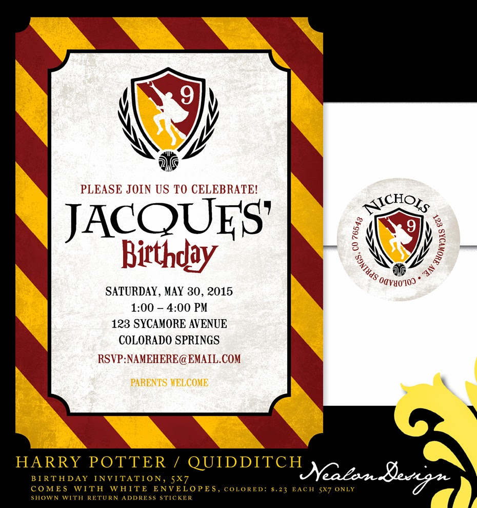 Nealon design harry potter quidditch birthday i have been so busy i need to add a whole new section to the blog for prints but i just had to add this latest invitation im a harry potter lover filmwisefo