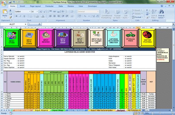 Aplikasi Rekap Nilai Kurikulum 2013 Format Microsoft Excel