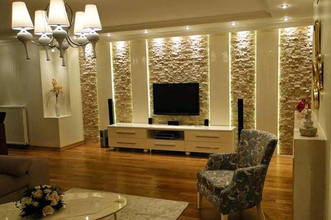 Salas con paredes en piedra  Ideas de salas con estilo