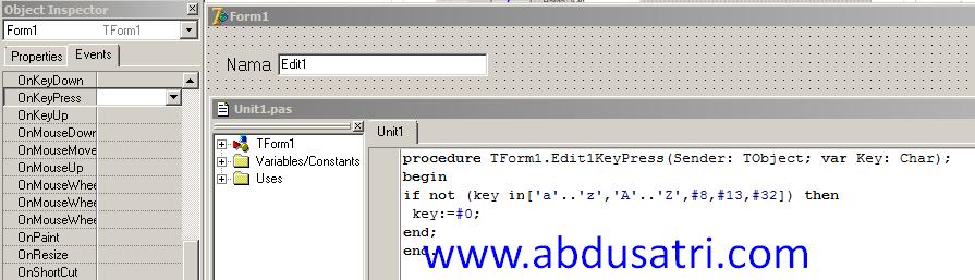cara membuat huruf saja pada editbox delphi