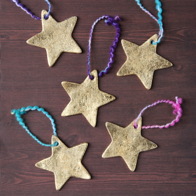 Make your own Diy Gold Clay Star Decorations.