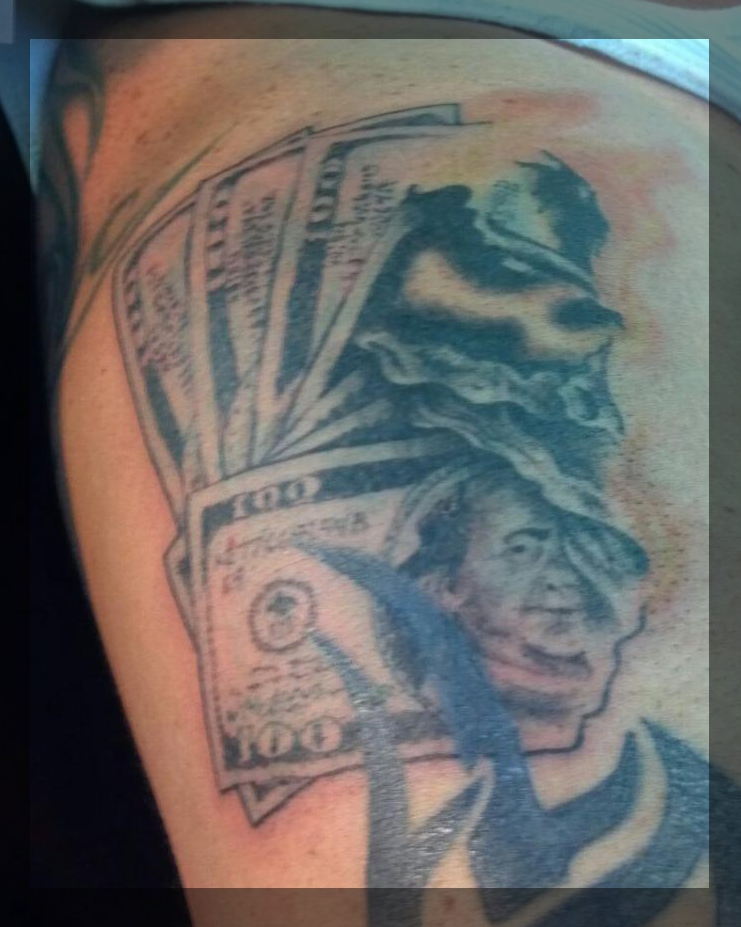 Ddefective ink burning money for Time is money tattoo