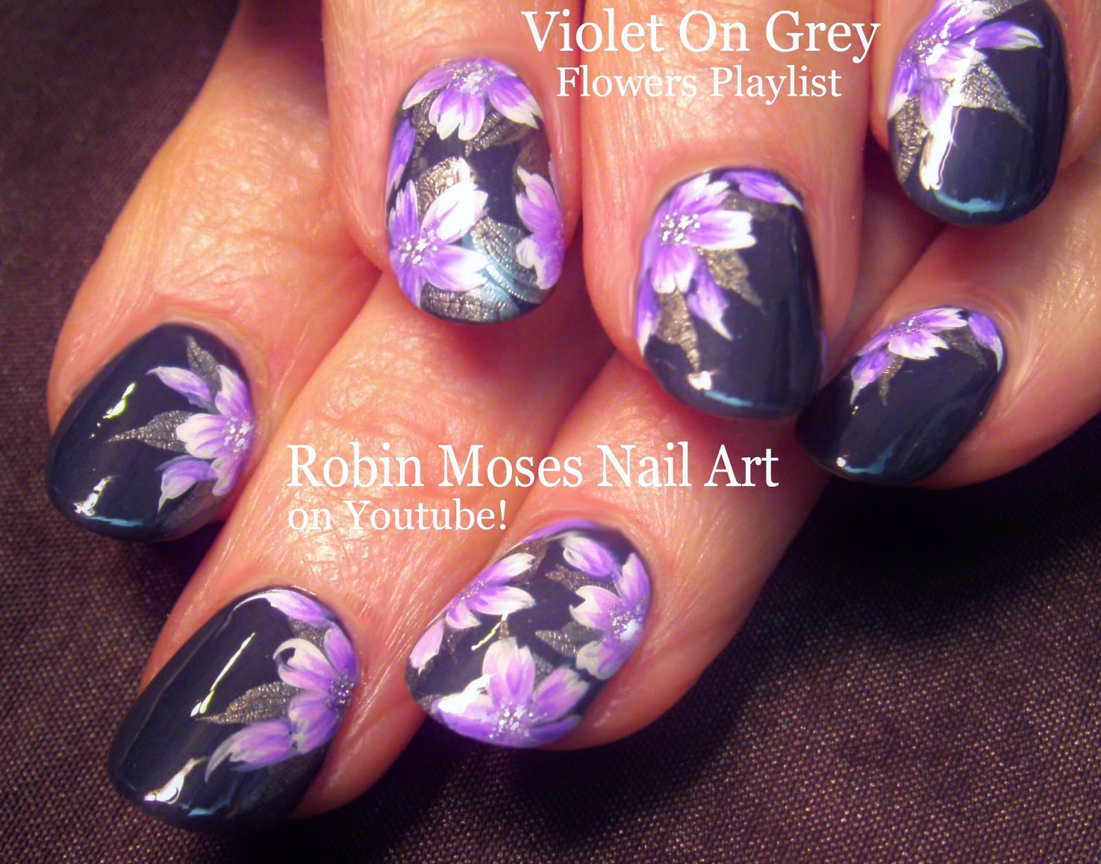 Flower Nails Lavender And Gray Flowers Nail Art Purple Cute