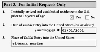 Image of part 3 initial requests only question on uscis form i821d