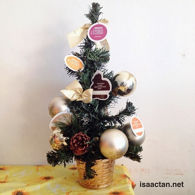 A rather cute mini Christmas tree from Nescafe Dolce Gusto