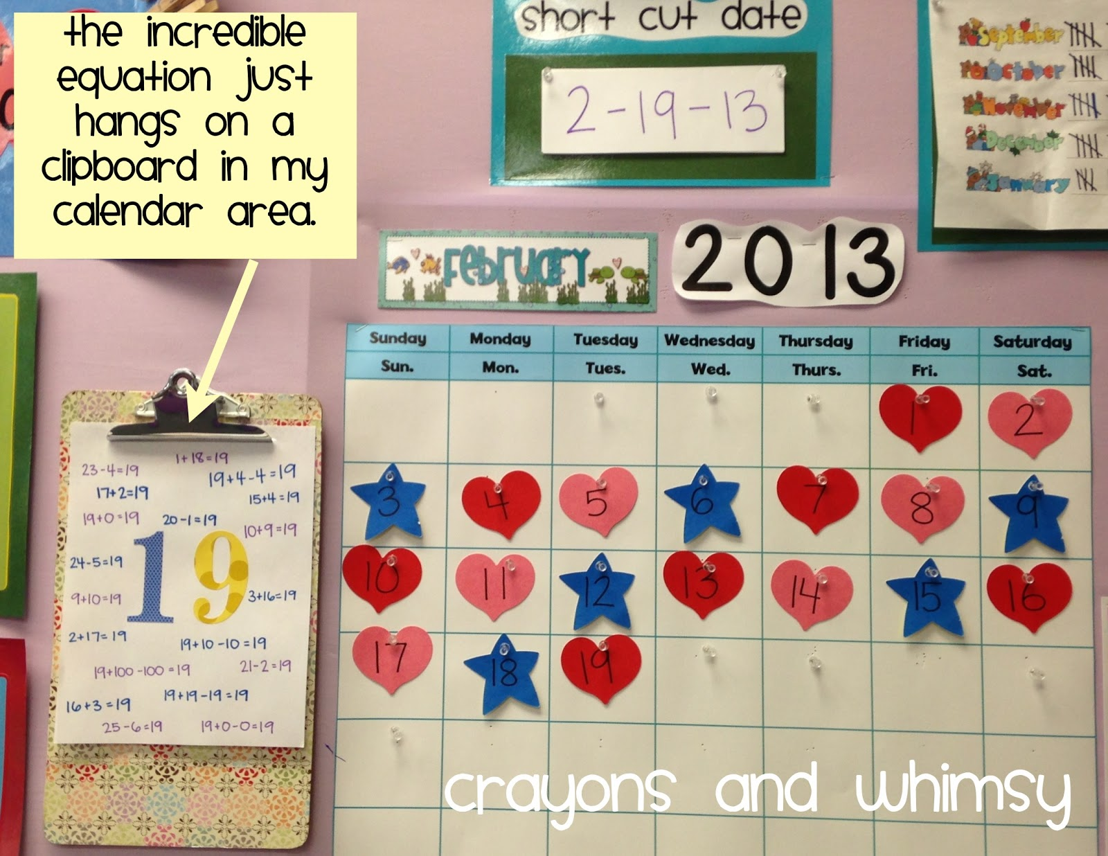 Crayons and Whimsy Incredible Equations calendar math kindergarten
