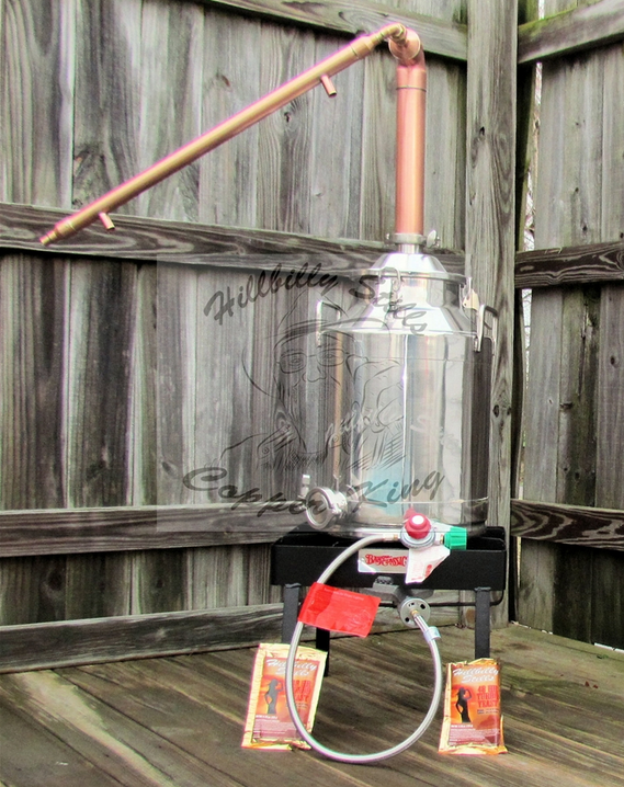 8 gallon copper moonshine still kit with burner from Hillbilly Stills