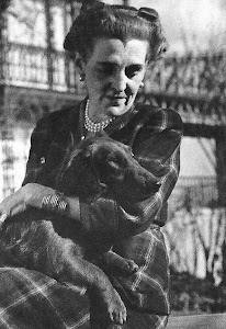 Laura Franklin Delano ~ with her favorite Irish Setter, 'Sister', at her home in Rhinebeck, New Yor