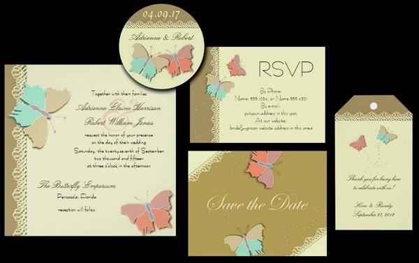 Metamorphosis Artistic Butterfly Wedding Invitation Card