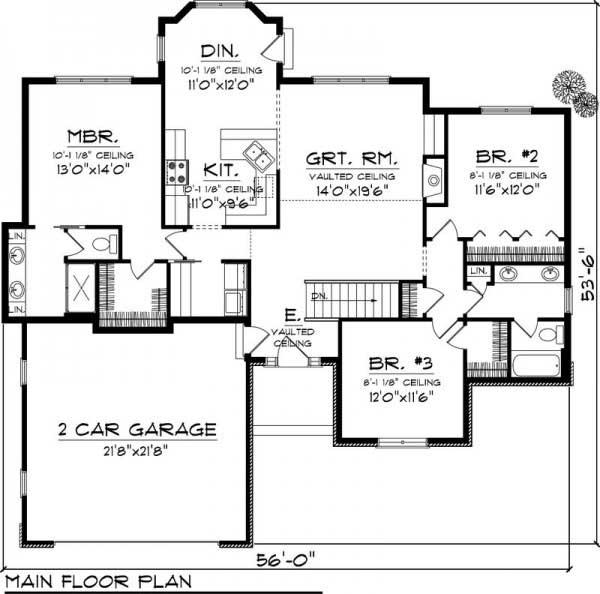 Plano y fachada de casa de campo con 3 dormitorios s tano for Planos de casas de campo de 3 dormitorios