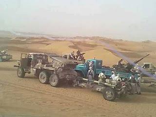 قبائل بلحارث تقوم بحرق اطقم تابعة