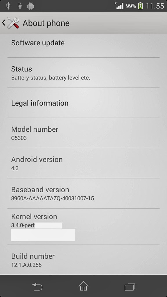 Sony Xperia SP Android 4.3 screenshots leaks