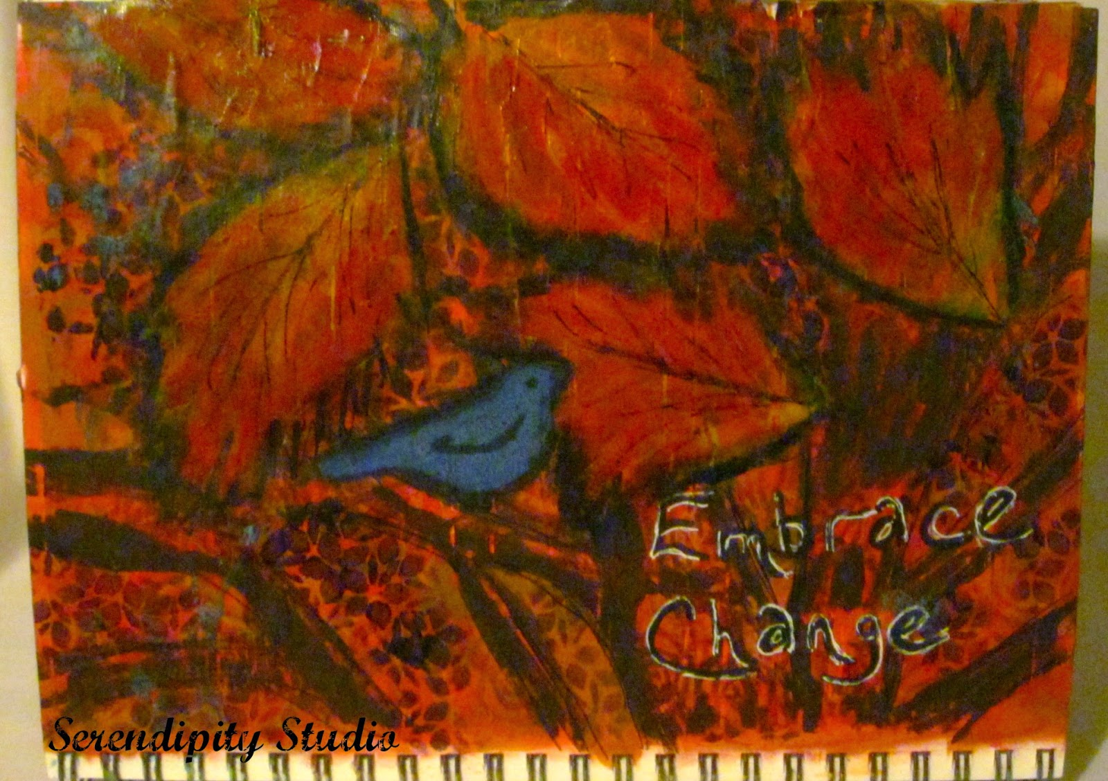 Art journal page, Embrace Change created by www.serendipitystudiobycw.blogspot.com