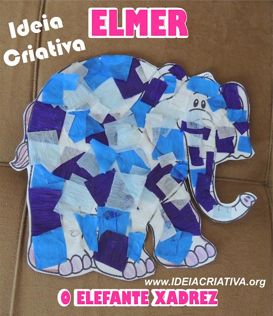 Elmer O Elefante Xadrez  Fazendo Arte colagem