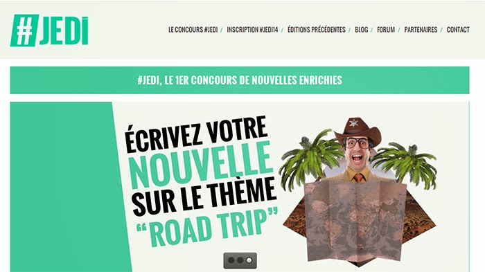 Capture d'écran du site du concours de nouvelles, #JEDI14.
