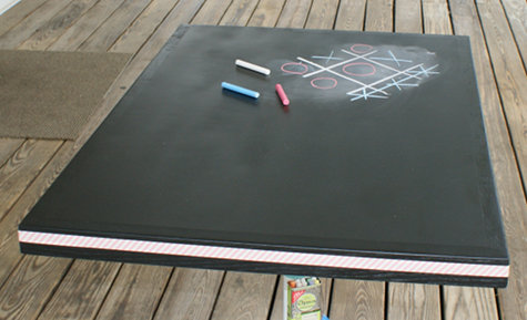 DIY Chalkboard Paint Game Table - Easy Upcycled DIY Craft Project Using Chalkboard Paint and Washi Tape