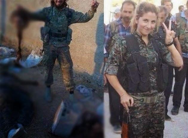 NOTICAS INSOLITAS - Fuertes imágenes: El grupo terrrorista ISIS, decapita a una mujer soldado kurda