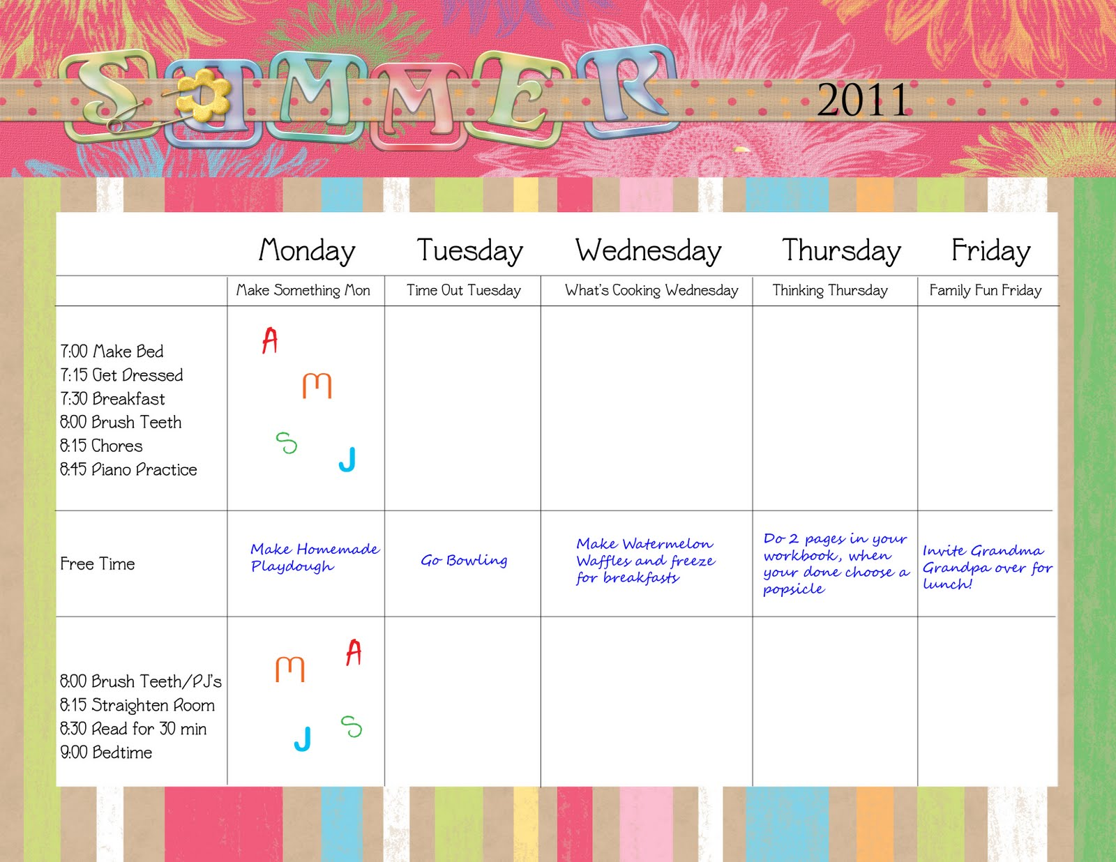 Kids Daily Schedule Template. creating order in the home daily ...