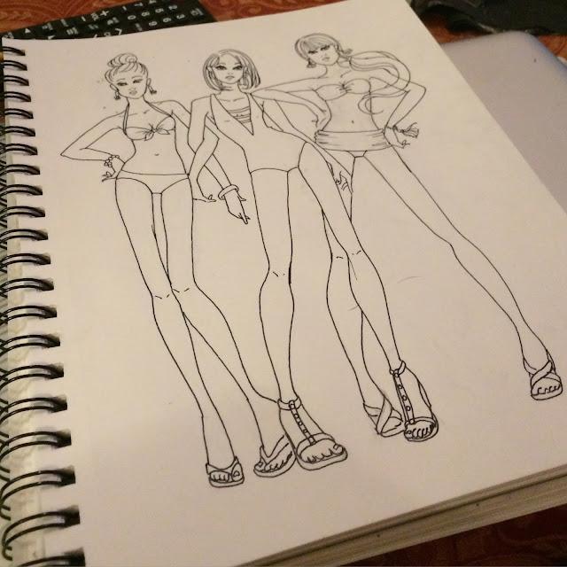 swimwear-coloring-page, fashion-illustration