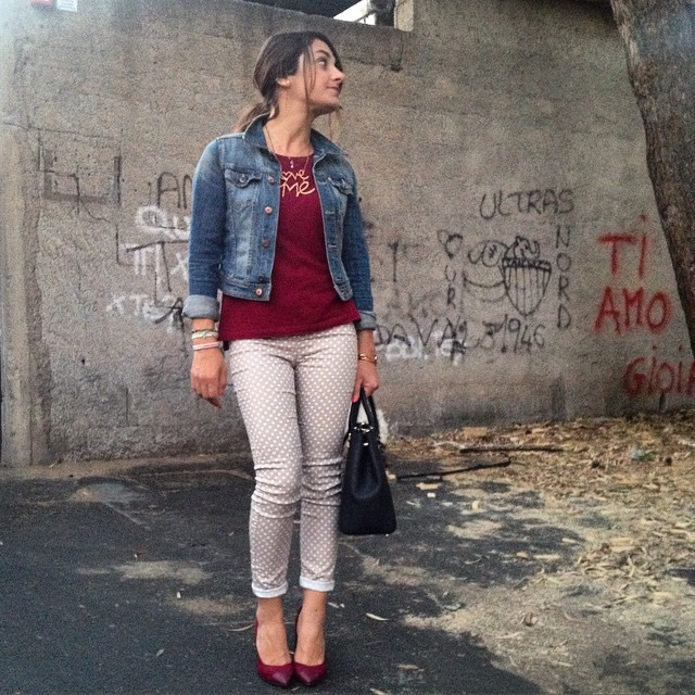 outfit jeans a pois, ovs, marsala