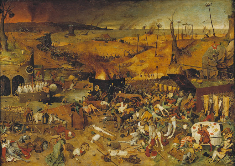 The Triumph of Death is an oil panel painting by Pieter Bruegel the Elder painted c. 1562. The painting shows a panorama of an army of skeletons wreaking havoc across a blackened, desolate landscape. Fires burn in the distance, and the sea is littered with shipwrecks.