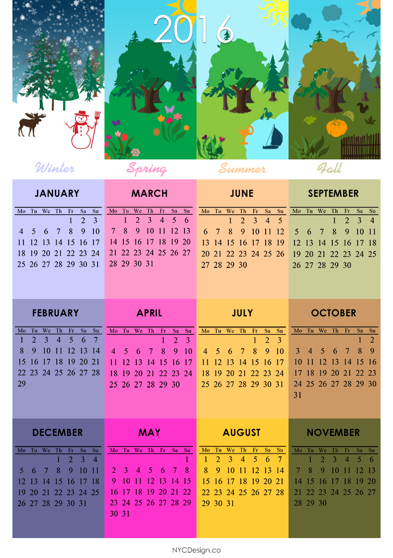 2016 calendar printable 4 seasons 4 season calendars calendar ...