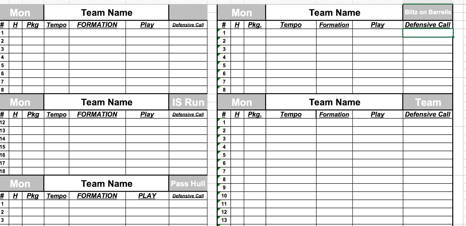 Create Football Depth Charts PDF Download