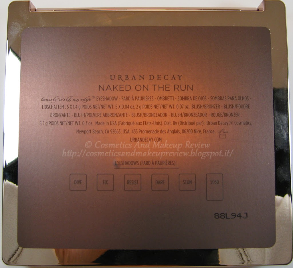 Urban Decay - Naked On The Run Palette - back
