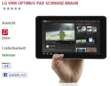 LG V900 Optimus Pad für 340,83 Euro inklusive Versandkosten bei ejoker (Vergleichspreis 440 Euro)