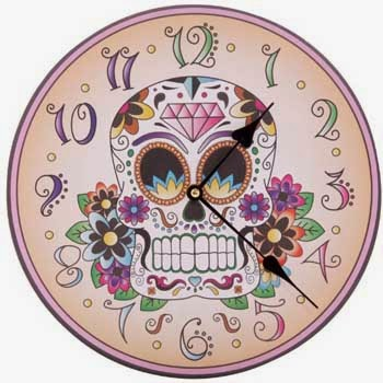 Mexican skull wall clock vintage style