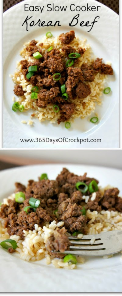 Easy Slow Cooker Korean Beef from 365 Days of Slow Cooking found on SlowCookerFromScratch.com