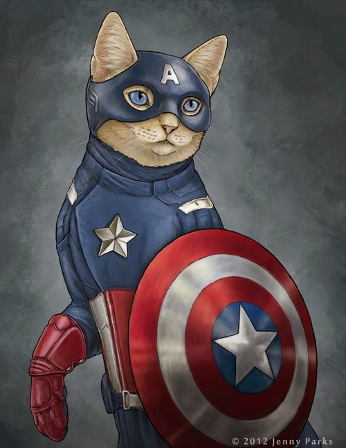 09-Captain-America-Jenny-Parks-Drawing-Animals-Superhero-Cats-Scientific-Illustrator-www-designstack-co