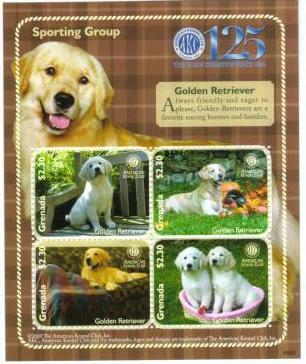 2009年グレナダ ゴールデン・レトリーバーの切手シート
