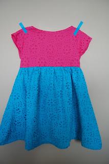 Colour-Blocked Eyelet Lace Dress by Cicely Ingleside