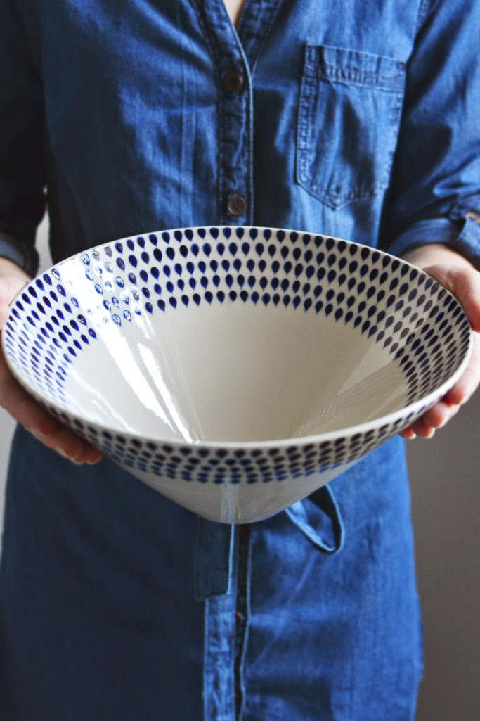 Indigo water drop blue white ceramic serving bowl