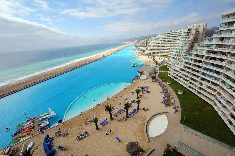 World 39 s largest outdoor pool at san alfonso del mar resort chile for San alfonso del mar swimming pool