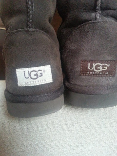 Above is an image showing the different shades of sections on both the fake (left) and genuine (right) Uggs. Quick tests: