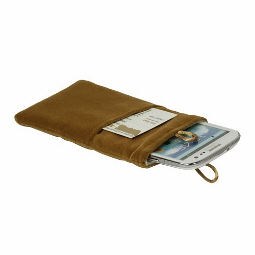 Universal Plush Pouch Bag with Button Closure for Samsung Galaxy S 3 III i9300 S 4 IV i9500 i9505, Size 13.8cm x 8.1cm - Brown