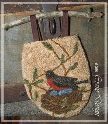 "Nesting Robin Punchneedle Gathering Bag or Frameable Piece 4.75"" by 5.5"""