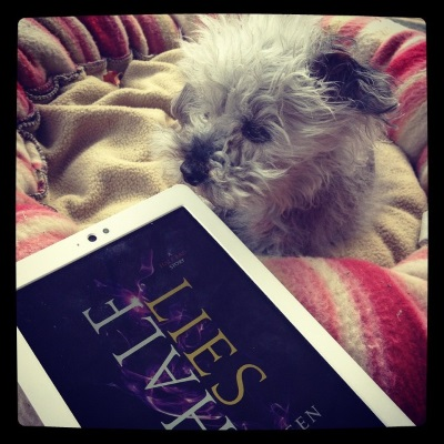 Murchie lays in his pink and beige dog bed. His left ear is inside out. He sniffs the corner of a white Kobo with Half Lies's cover on its screen. The cover features the title laid over a swirl of dark purple against a black background.