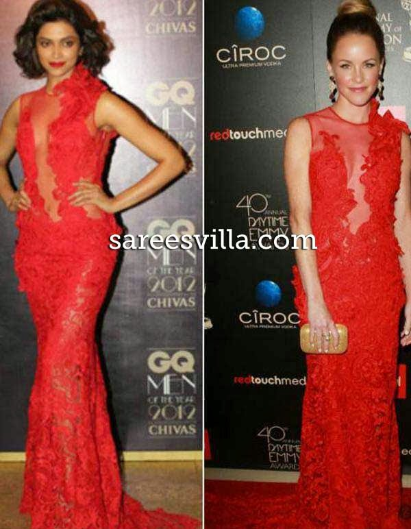Deepika Padukone and Julie Marie Bermans  in same dress