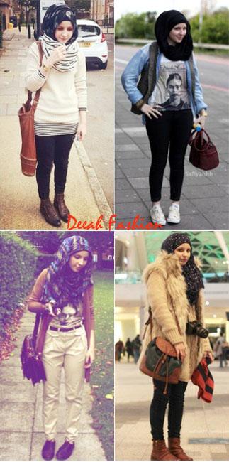 Gaya Jilbab Musim Dingin Penghujan