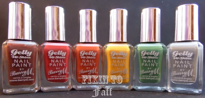 Swatch and review of the Barry M Fall 2014 Gelly release: Cocoa, Chili, Paprika, Mustard, Cardamom, and Chai.